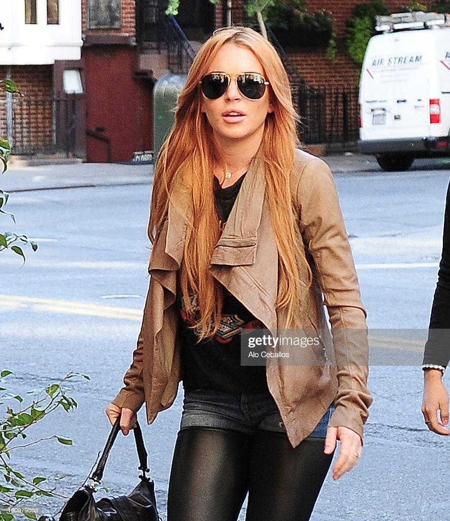 Lindsay Lohan is seen in Gramecy on September 18, 2013 in New York City.