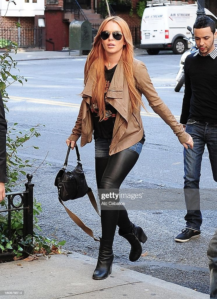 <a gi-track='captionPersonalityLinkClicked' href=/galleries/search?phrase=Lindsay+Lohan&family=editorial&specificpeople=171623 ng-click='$event.stopPropagation()'>Lindsay Lohan</a> is seen in Gramecy on September 18, 2013 in New York City.