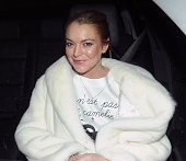 Lindsay Lohan is seen outside the Zuma restaurant on November 12 2014 in London England