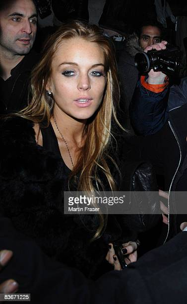 Lindsay Lohan leaves Chinawhite after DJing with Samantha Ronson sighting on November 13 2008 in London England
