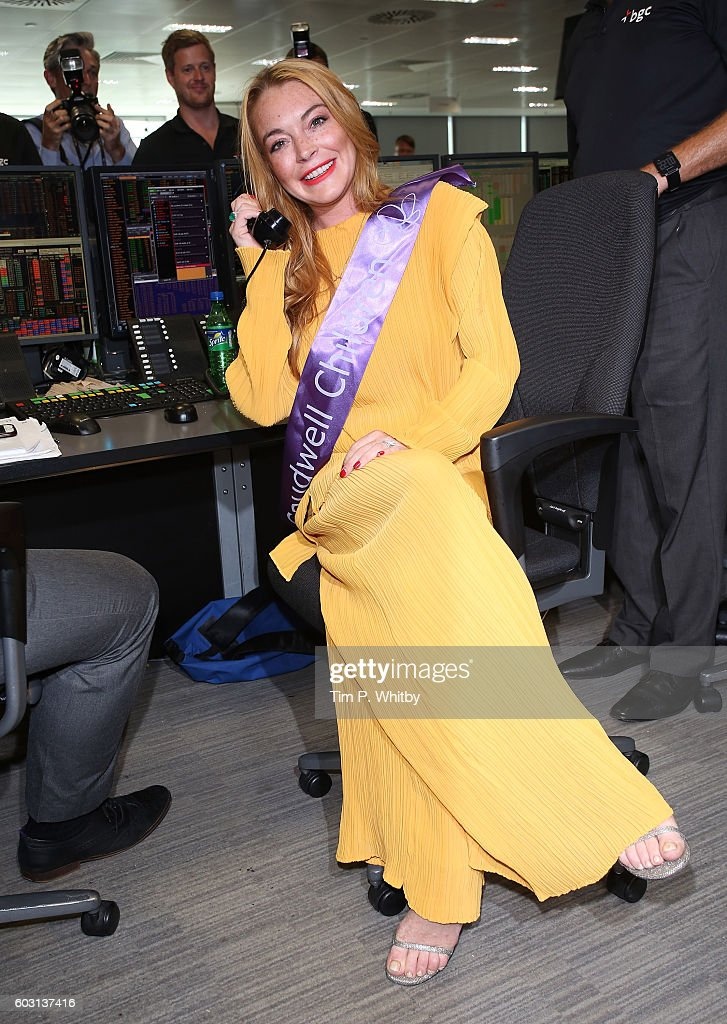 Lindsay Lohan making a trade at BGC Annual Global Charity Day at Canary Wharf on September 12, 2016 in London, England.