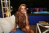 Lindsay Lohan poses at Shore Club on December 7 2013 in Miami Beach Florida