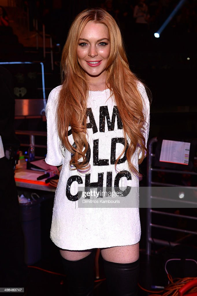 Lindsay Lohan poses backstage at Z100's Jingle Ball 2013 presented by Aeropostale at Madison Square Garden on December 13 2013 in New York City