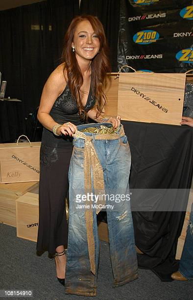 Lindsay Lohan with DKNY Jeans Customized Jeans during Z100's Jingle Ball 2004 Artist Gift Lounge by On 3 Productions at Madison Square Garden in New...