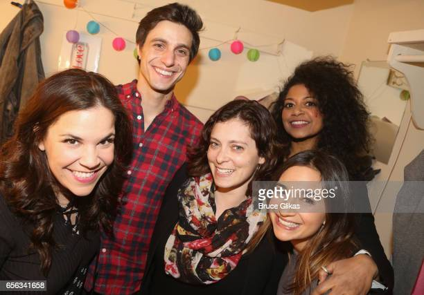 Lindsay Mendez Gideon Glick Rachel Bloom Rebecca Naomi Jones and Sas Goldberg pose backstage at the hit comedy 'Significant Other' on Broadway at The...