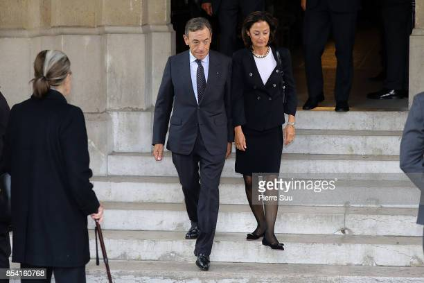 Lindsay Owen Jones and his wife attend Liliane Bettencourt's funeral at Eglise Saint Pierre on September 26 2017 in NeuillysurSeine France