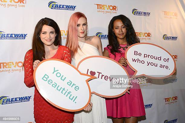 Lindsay Pearce Rumer Willis and Corbin Reid attend the PROM 2014 A NIGHT OUT FOR TREVOR presented by the Trevor Project NextGen Los Angeles at...