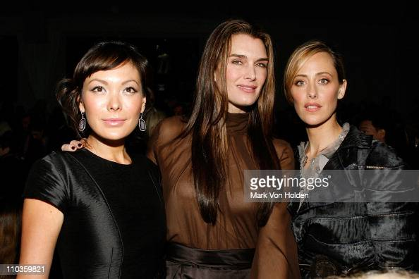 Lindsay Price Brooke Shields and Kim Raver attend Dennis Basso Fall 2008 during MercedesBenz Fashion Week at theTents at Bryant Park on February 5...