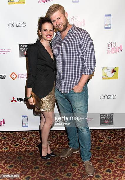 Lindsay Salk and assistant director Brian Boyd arrive at Premiere Party For 'Liv Out Loud' at Akbar on September 14 2015 in Los Angeles California