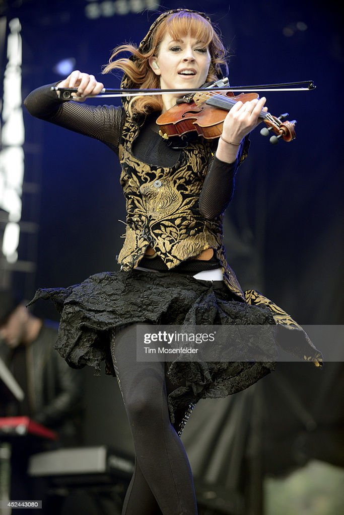 Lindsay Stirling performs during the Pemberton Music and Arts Festival on July 20, 2014 in Pemberton, British Columbia.