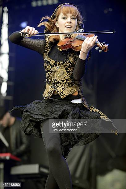 Lindsay Stirling performs during the Pemberton Music and Arts Festival on July 20 2014 in Pemberton British Columbia