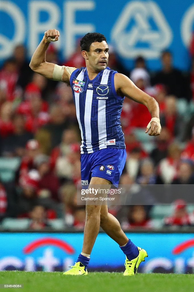 <a gi-track='captionPersonalityLinkClicked' href=/galleries/search?phrase=Lindsay+Thomas+-+Australian+Rules+Football+Player&family=editorial&specificpeople=9595396 ng-click='$event.stopPropagation()'>Lindsay Thomas</a> of the Kangaroos celebrates kicking a goal during the round 10 AFL match between the Sydney Swans and the North Melbourne Kangaroos at Sydney Cricket Ground on May 27, 2016 in Sydney, Australia.
