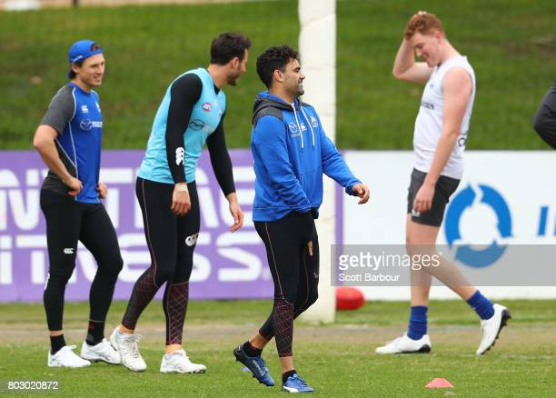Lindsay Thomas of the Kangaroos looks on during a North Melbourne Kangaroos AFL training session at Arden Street Ground on June 29 2017 in Melbourne...