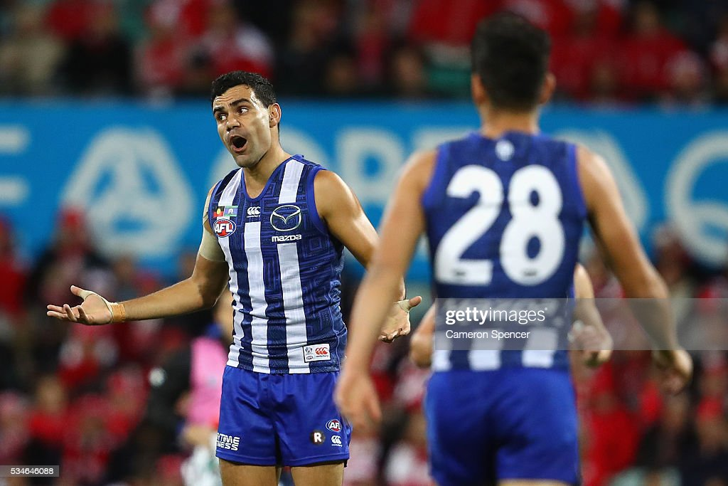 <a gi-track='captionPersonalityLinkClicked' href=/galleries/search?phrase=Lindsay+Thomas+-+Australian+Rules+Football+Player&family=editorial&specificpeople=9595396 ng-click='$event.stopPropagation()'>Lindsay Thomas</a> of the Kangaroos reacts during the round 10 AFL match between the Sydney Swans and the North Melbourne Kangaroos at Sydney Cricket Ground on May 27, 2016 in Sydney, Australia.