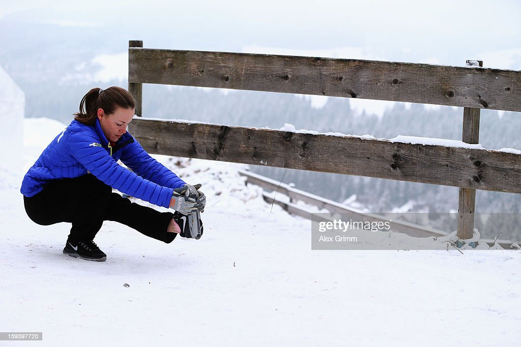 Lindsay Van of the USA prepares for the FIS Ski Jumping World Cup Women's HS108 on January 13, 2013 in Titisee-Neustadt, Germany.