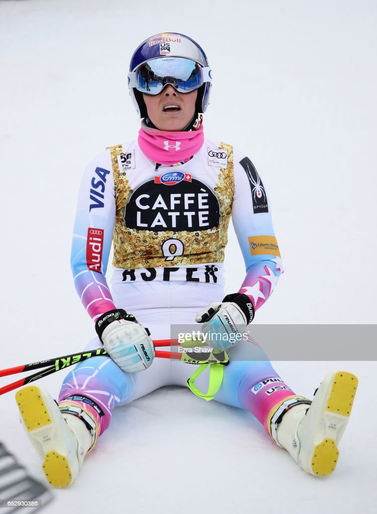 Lindsay Vonn of the United States sits on the snow after her training run for the ladies' downhill during the Audi FIS Ski World Cup Finals at Aspen Mountain on March 13, 2017 in Aspen, Colorado.