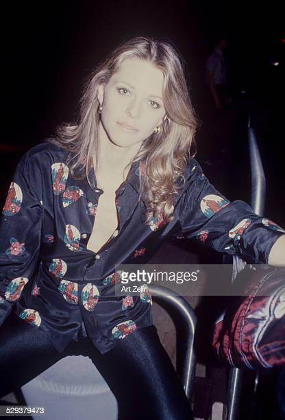 Lindsay Wagner in a black print shirt circa 1970 New York