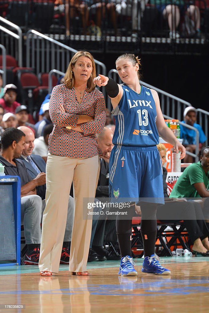 Lindsay Whalen #13 and Cheryl Reeve of the Minnesota Lynx during a game against the New York Liberty during the game on August 27, 2013 at Prudential Center in Newark, New Jersey.