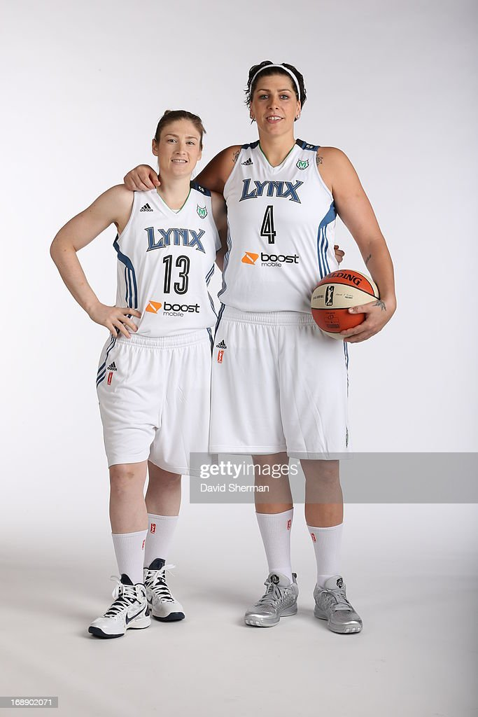 Lindsay Whalen #13 and Janel McCarville #4 of the Minnesota Lynx pose for portraits during 2013 Media Day on May 16, 2013 at the Minnesota Timberwolves and Lynx LifeTime Fitness Training Center at Target Center in Minneapolis, Minnesota.