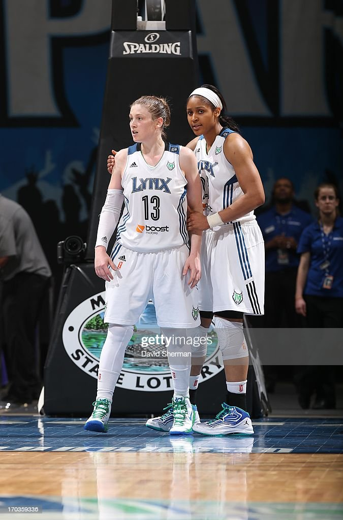 <a gi-track='captionPersonalityLinkClicked' href=/galleries/search?phrase=Lindsay+Whalen&family=editorial&specificpeople=208984 ng-click='$event.stopPropagation()'>Lindsay Whalen</a> #13 and <a gi-track='captionPersonalityLinkClicked' href=/galleries/search?phrase=Maya+Moore+-+Basketball+Player&family=editorial&specificpeople=4215914 ng-click='$event.stopPropagation()'>Maya Moore</a> #23 of the Minnesota Lynx react to the play against the San Antonio Silver Stars during the WNBA game on June 11, 2013 at Target Center in Minneapolis, Minnesota.