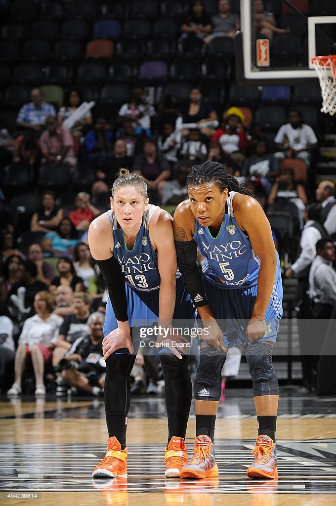 Lindsay Whalen and Tan White of the Minnesota Lynx on the court in Game Two of the Western Conference Semifinals against the San Antonio Stars during...