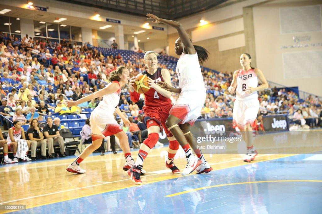Lindsay Whalen drives to the basket during the Women's Senior US National Team Red vs White game on September 11 2014 in Newark DE NOTE TO USER User...