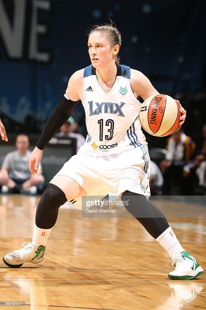 <a gi-track='captionPersonalityLinkClicked' href=/galleries/search?phrase=Lindsay+Whalen&family=editorial&specificpeople=208984 ng-click='$event.stopPropagation()'>Lindsay Whalen</a> #13 of the Minnesota Lynx ball handles during the WNBA pre-season game against the Connecticut Sun on May 21, 2013 at Target Center in Minneapolis, Minnesota.