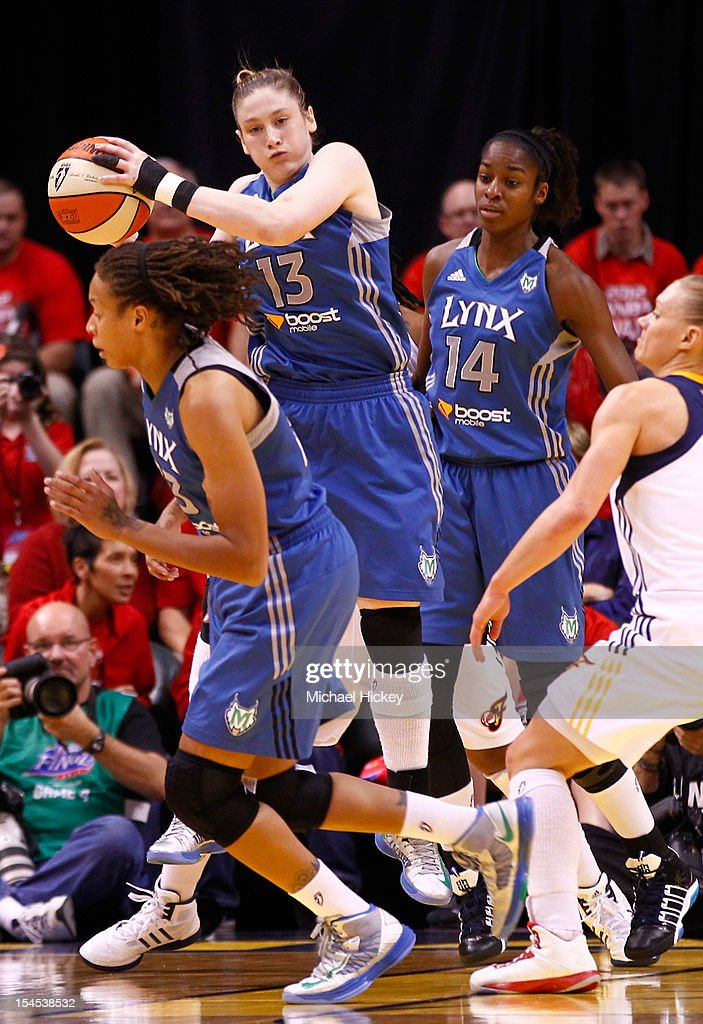 <a gi-track='captionPersonalityLinkClicked' href=/galleries/search?phrase=Lindsay+Whalen&family=editorial&specificpeople=208984 ng-click='$event.stopPropagation()'>Lindsay Whalen</a> #13 of the Minnesota Lynx catches the ball against the Indiana Fever during Game Four of the 2012 WNBA Finals on October 21, 2012 at Bankers Life Fieldhouse in Indianapolis, Indiana.