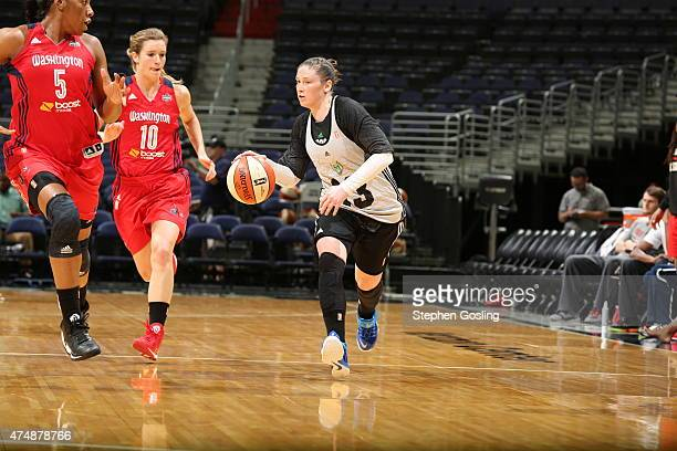 Lindsay Whalen of the Minnesota Lynx drives against the Washington Mystics during an Analytic Scrimmage at the Verizon Center on May 26 2015 in...