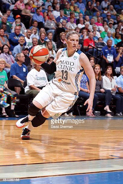Lindsay Whalen of the Minnesota Lynx drives to the basket against the Washington Mystics on August 19 2015 at Target Center in Minneapolis Minnesota...