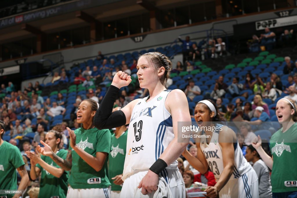 Lindsay Whalen #13 of the Minnesota Lynx gives a fist pump during the WNBA pre-season game against the Connecticut Sun on May 21, 2013 at Target Center in Minneapolis, Minnesota.