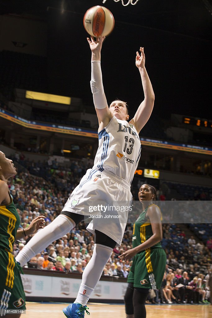 Lindsay Whalen #13 of the Minnesota Lynx goes for the layup against the Seattle Storm during the WNBA Western Conference Semifinals Game 1 on September 20, 2013 at Target Center in Minneapolis, Minnesota.