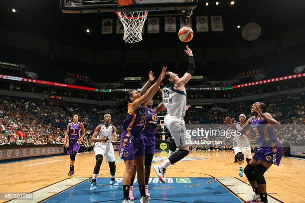 Lindsay Whalen of the Minnesota Lynx grabs the rebound against the Los Angeles Sparks on July 29 2015 at Target Center in Minneapolis Minnesota NOTE...