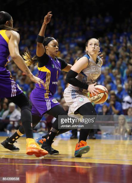 Lindsay Whalen of the Minnesota Lynx handles the ball against Odyssey Sims of the Los Angeles Sparks in Game Two of the 2017 WNBA Finals on September...