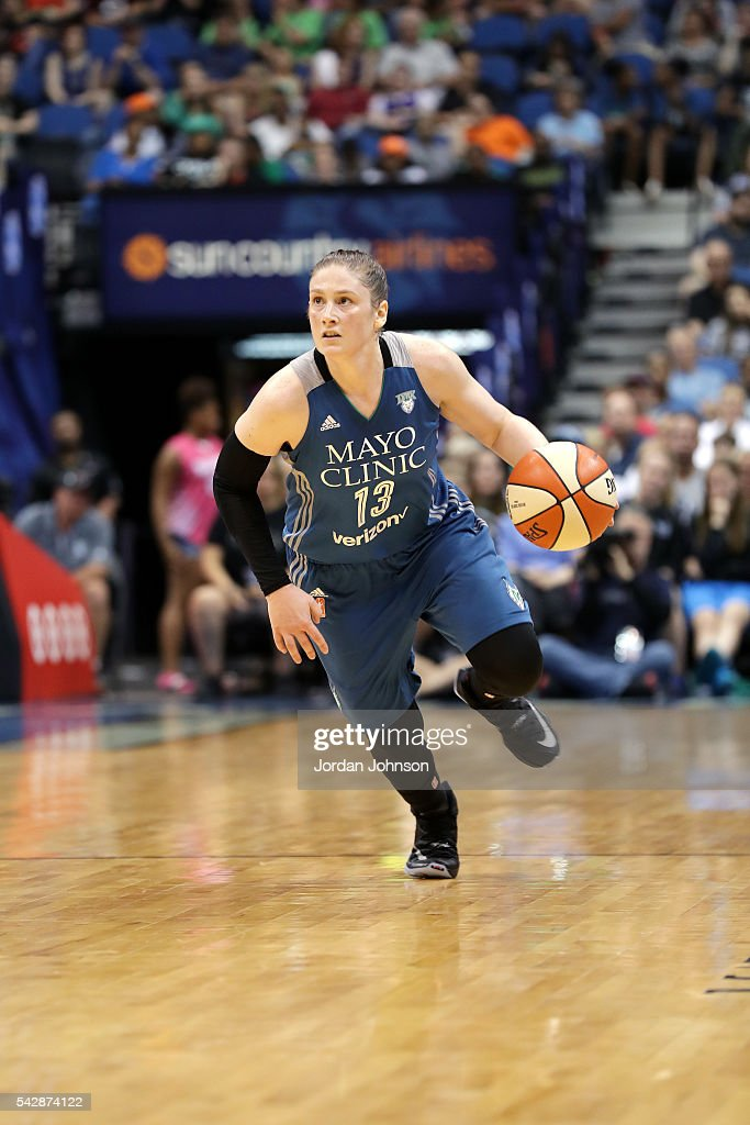 Lindsay Whalen #13 of the Minnesota Lynx handles the ball during the game against the Los Angeles Sparks during the WNBA game on June 24, 2016 at Target Center in Minneapolis, Minnesota.