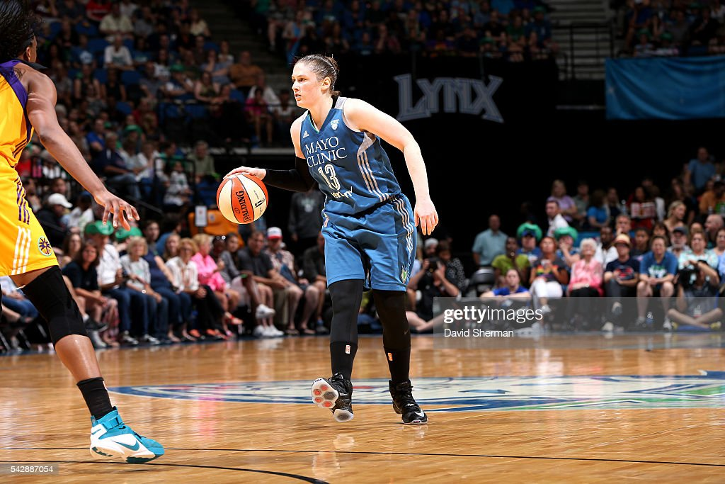 <a gi-track='captionPersonalityLinkClicked' href=/galleries/search?phrase=Lindsay+Whalen&family=editorial&specificpeople=208984 ng-click='$event.stopPropagation()'>Lindsay Whalen</a> #13 of the Minnesota Lynx handles the ball during the game against the Los Angeles Sparks during the WNBA game on June 24, 2016 at Target Center in Minneapolis, Minnesota.