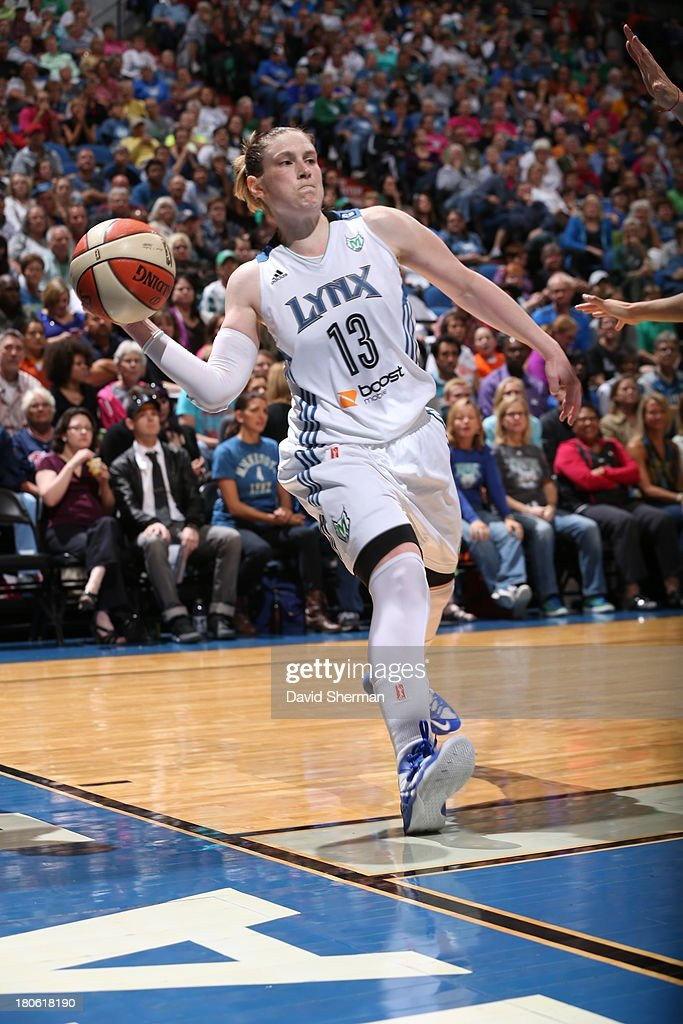 <a gi-track='captionPersonalityLinkClicked' href=/galleries/search?phrase=Lindsay+Whalen&family=editorial&specificpeople=208984 ng-click='$event.stopPropagation()'>Lindsay Whalen</a> #13 of the Minnesota Lynx passes the ball against the Chicago Sky during the WNBA game on September 14, 2013 at Target Center in Minneapolis, Minnesota.