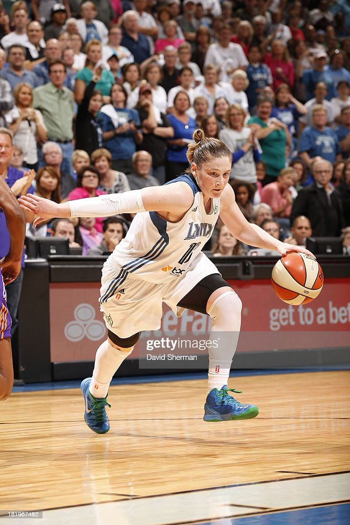 <a gi-track='captionPersonalityLinkClicked' href=/galleries/search?phrase=Lindsay+Whalen&family=editorial&specificpeople=208984 ng-click='$event.stopPropagation()'>Lindsay Whalen</a> #13 of the Minnesota Lynx runs a layup against The Phoenix Mercury during the WNBA Western Conference Finals Game 1 on September 26, 2013 at Target Center in Minneapolis, Minnesota.