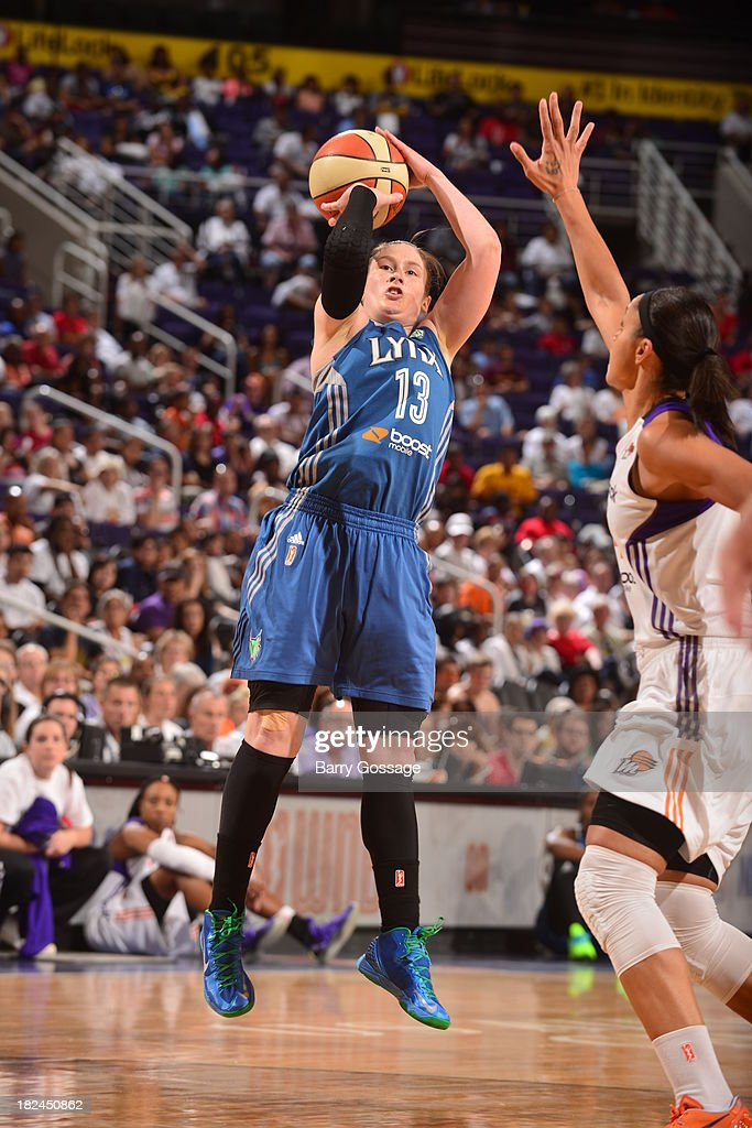 <a gi-track='captionPersonalityLinkClicked' href=/galleries/search?phrase=Lindsay+Whalen&family=editorial&specificpeople=208984 ng-click='$event.stopPropagation()'>Lindsay Whalen</a> #13 of the Minnesota Lynx shoots against <a gi-track='captionPersonalityLinkClicked' href=/galleries/search?phrase=Candice+Dupree&family=editorial&specificpeople=537818 ng-click='$event.stopPropagation()'>Candice Dupree</a> #4 of the Phoenix Mercury in Game 2 of the Western Conference Finals during 2013 WNBA Playoffs on September 29, 2013 at U.S. Airways Center in Phoenix, Arizona.