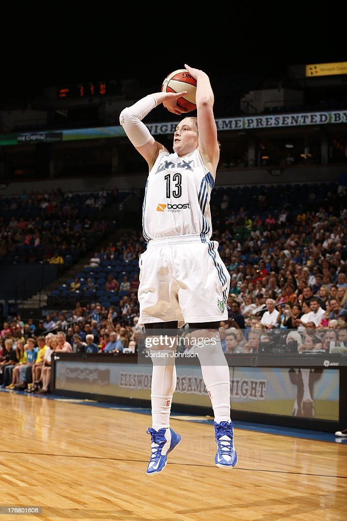 <a gi-track='captionPersonalityLinkClicked' href=/galleries/search?phrase=Lindsay+Whalen&family=editorial&specificpeople=208984 ng-click='$event.stopPropagation()'>Lindsay Whalen</a> #13 of the Minnesota Lynx shoots against the New York Liberty during the WNBA game on August 18, 2013 at Target Center in Minneapolis, Minnesota.