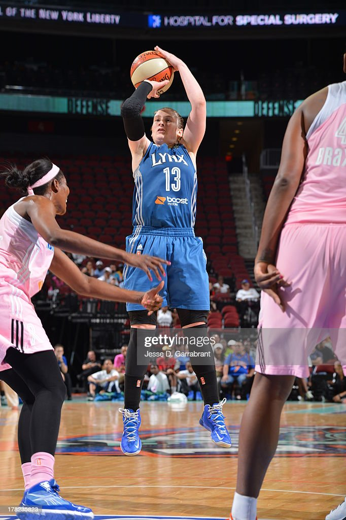 Lindsay Whalen #13 of the Minnesota Lynx shoots against the New York Liberty during the game on August 27, 2013 at Prudential Center in Newark, New Jersey.
