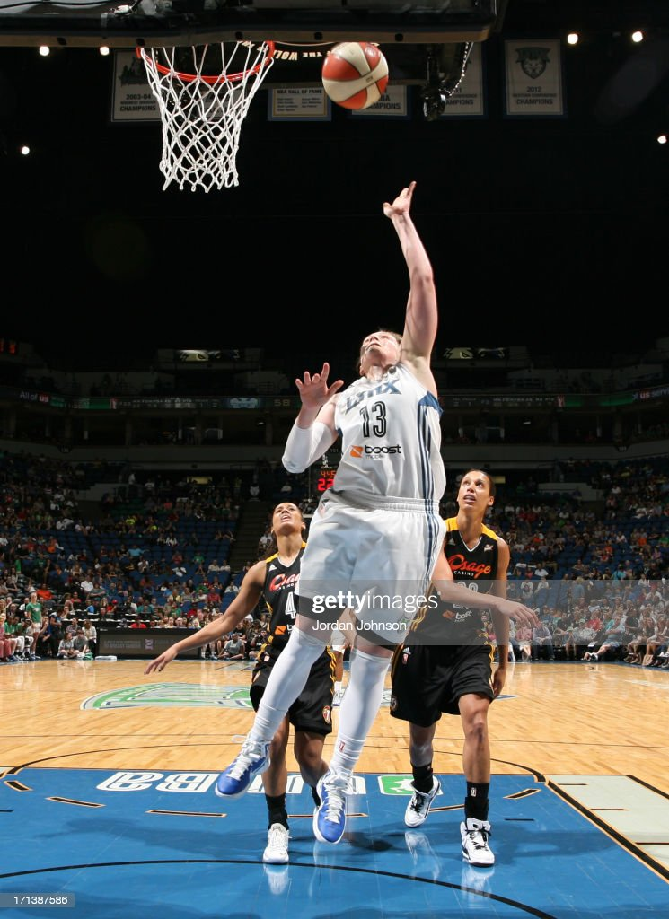 <a gi-track='captionPersonalityLinkClicked' href=/galleries/search?phrase=Lindsay+Whalen&family=editorial&specificpeople=208984 ng-click='$event.stopPropagation()'>Lindsay Whalen</a> #13 of the Minnesota Lynx shoots against the Tulsa Shock during the WNBA game on June 23, 2013 at Target Center in Minneapolis, Minnesota.