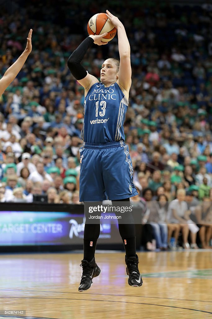 Lindsay Whalen #13 of the Minnesota Lynx shoots the ball during the game against the Los Angeles Sparks during the WNBA game on June 24, 2016 at Target Center in Minneapolis, Minnesota.