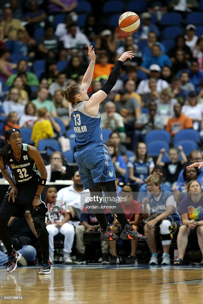 <a gi-track='captionPersonalityLinkClicked' href=/galleries/search?phrase=Lindsay+Whalen&family=editorial&specificpeople=208984 ng-click='$event.stopPropagation()'>Lindsay Whalen</a> #13 of the Minnesota Lynx shoots the ball during the game against the New York Liberty during the WNBA game on June 29, 2016 at Target Center in Minneapolis, Minnesota.