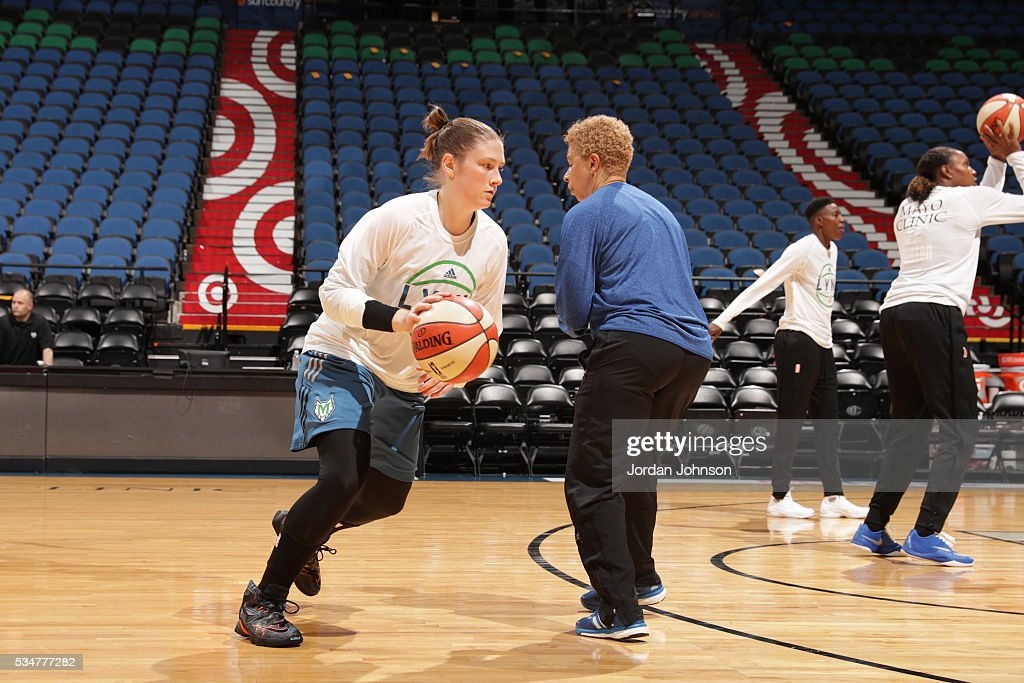 <a gi-track='captionPersonalityLinkClicked' href=/galleries/search?phrase=Lindsay+Whalen&family=editorial&specificpeople=208984 ng-click='$event.stopPropagation()'>Lindsay Whalen</a> #13 of the Minnesota Lynx warms up before the game against the Indiana Fever on May 27, 2016 at Target Center in Minneapolis, Minnesota.