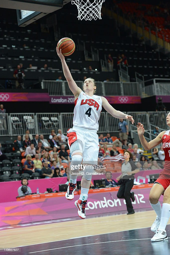 <a gi-track='captionPersonalityLinkClicked' href=/galleries/search?phrase=Lindsay+Whalen&family=editorial&specificpeople=208984 ng-click='$event.stopPropagation()'>Lindsay Whalen</a> #4 of the United States shoots against Turkey during their Basketball Game on Day 5 of the London 2012 Olympic Games at the Olympic Park Basketball Arena on August 1, 2012 in London, England.