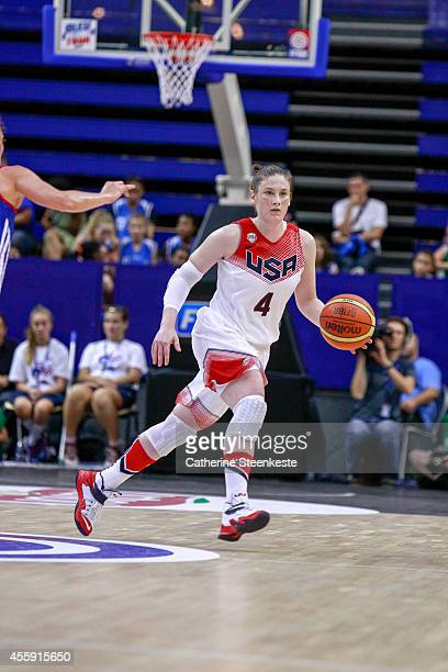 Lindsay Whalen of the USA Basketball Women's National Team brings up the ball during the game between France and USA at Stade Pierre de Coubertin on...