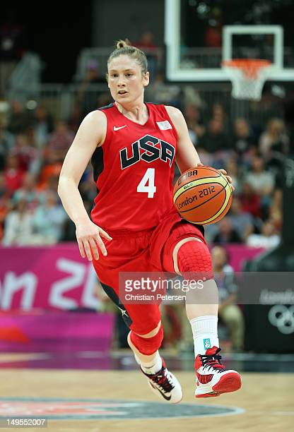 Lindsay Whalen of United States moves the ball upcourt during the Women's Basketball Preliminary Round match against Angola on Day 3 at Basketball...