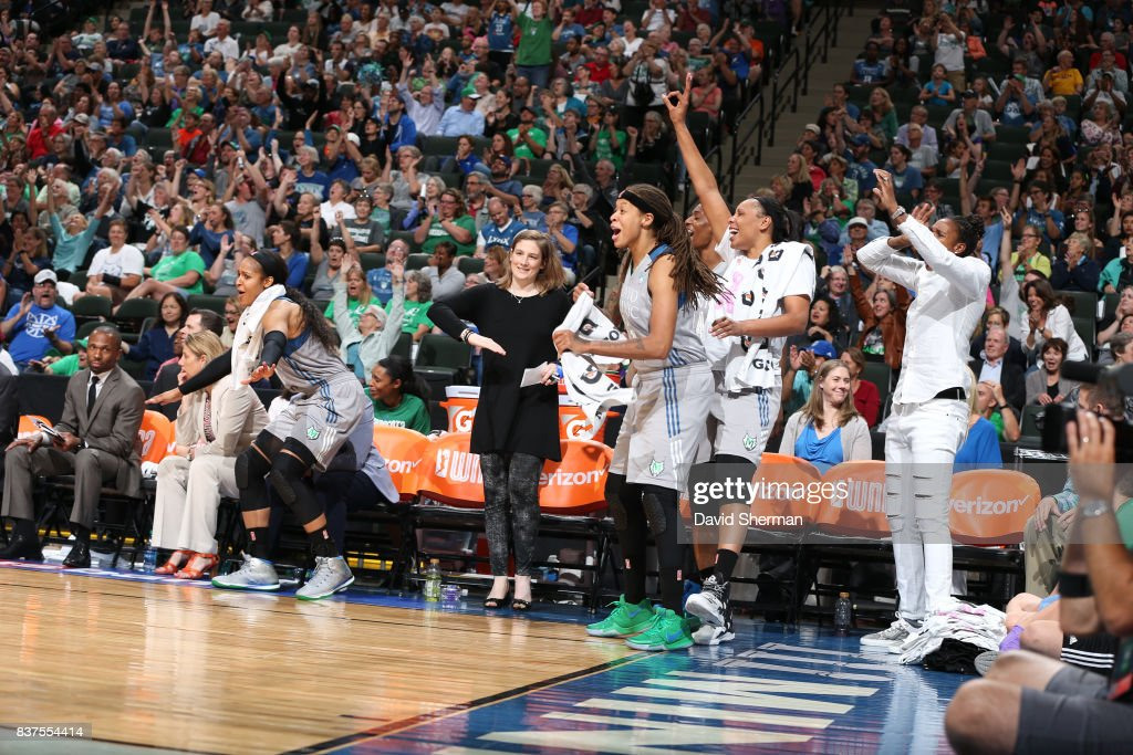 Lindsay Whalen #13, Seimone Augustus #33 and Plenette Pierson #22 of the Minnesota Lynx celebrates a win against the Phoenix Mercury on August 22, 2017 at Xcel Energy Center in St. Paul, Minnesota.