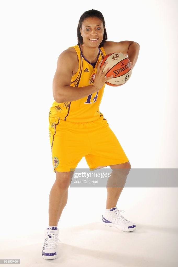 Lindsay WisdomHylton of the Los Angeles Sparks poses for a portrait during WNBA Media Day on May 10 2010 at St Mary's Academy in Inglewood California...
